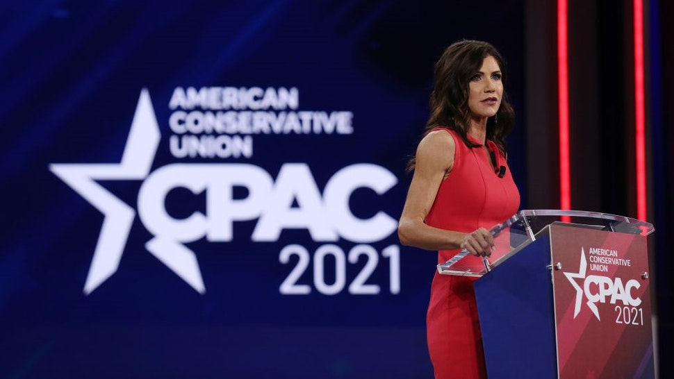ORLANDO, FLORIDA - FEBRUARY 27: South Dakota Gov. Kristi Noem addresses the Conservative Political Action Conference held in the Hyatt Regency on February 27, 2021 in Orlando, Florida. Begun in 1974, CPAC brings together conservative organizations, activists, and world leaders to discuss issues important to them. (Photo by