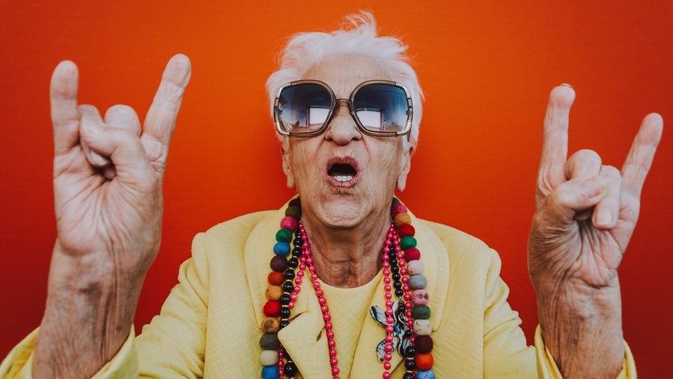 backgrounds (Funny grandmother portraits. Senior old woman