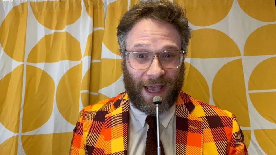 UNSPECIFIED - OCTOBER 21: In this screengrab, host and HFC founder Seth Rogen speaks during Hilarity For Charity's Head To Head Virtual Game Night, hosted by Seth Rogen, presented by Biogen, on October 21, 2020. Hilarity For Charity's Head To Head Virtual Game Night is a 70s-themed fundraiser benefitting Alzheimer's awareness. (Photo by