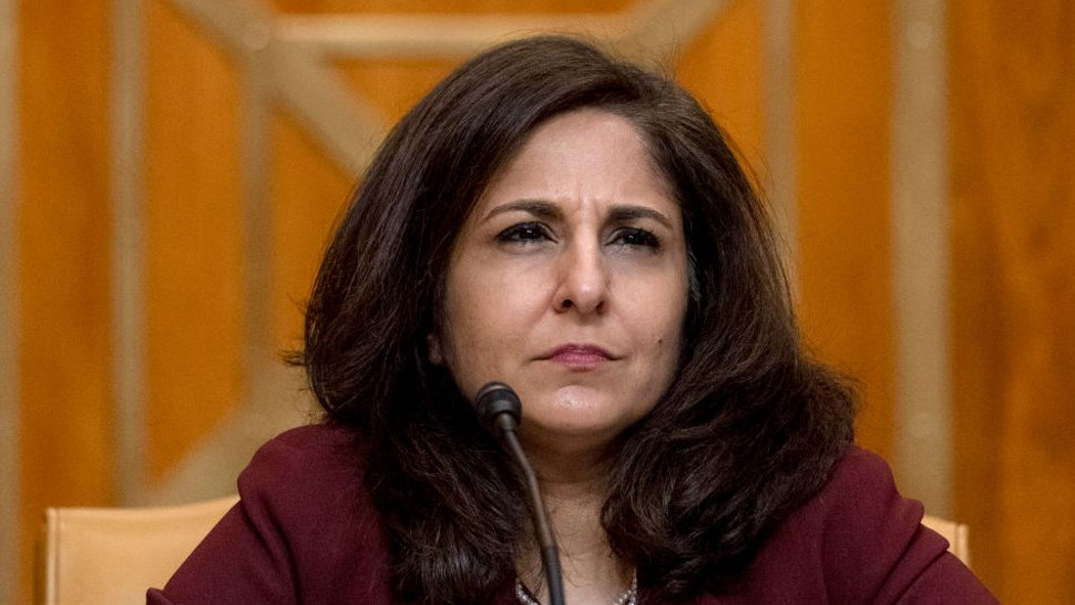 WASHINGTON, DC - FEBRUARY 10: Neera Tanden, President Joe Bidens nominee for Director of the Office of Management and Budget (OMB), appears before a Senate Committee on the Budget hearing on Capitol Hill on February 10, 2021 in Washington, DC. Tanden helped found the Center for American Progress, a policy research and advocacy organization and has held senior advisory positions in Democratic politics since the Clinton administration. (Photo by