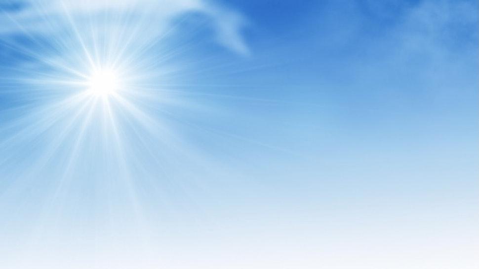 Sun on Blue Sky - stock photo Blue Sky with Copy Space