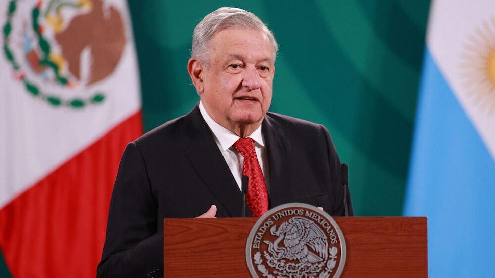 MEXICO CITY, MEXICO - FEBRUARY 23: President of Mexico Andres Manuel Lopez Obrador speaks during a press conference at Palacio Nacional on February 23, 2021 in Mexico City, Mexico.