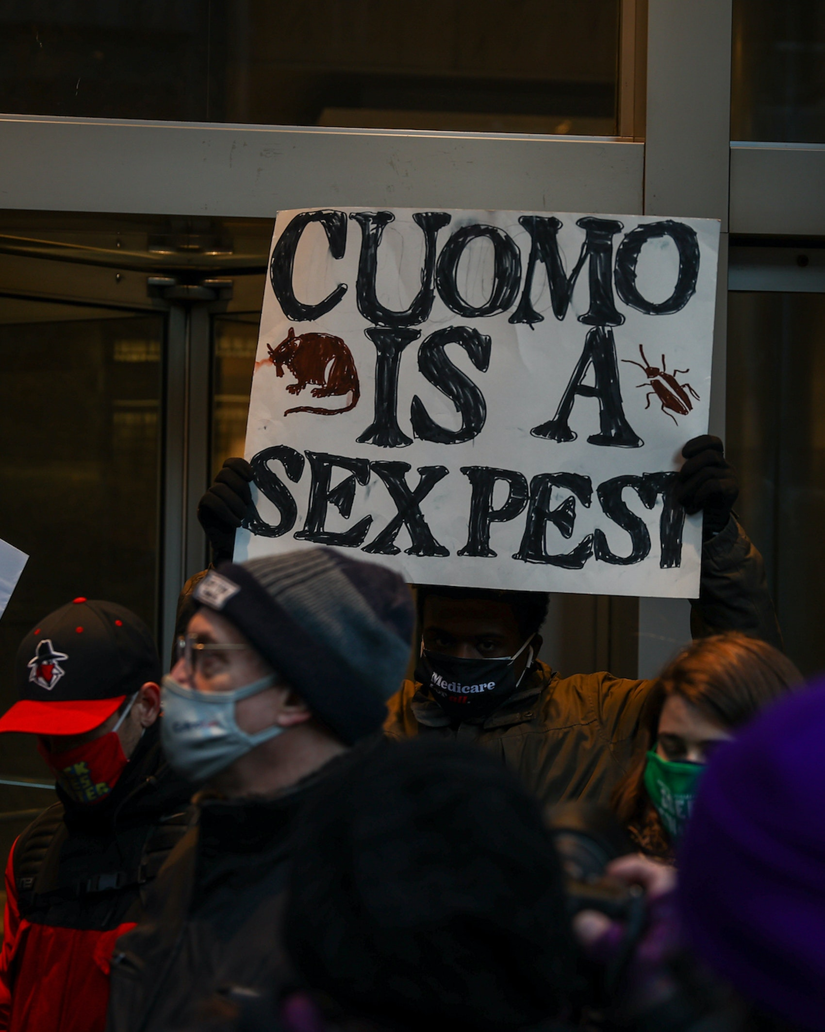 A group of protesters are calling for Governor Andrew Cuomo's resignation following a series of sexual harassment accusations and an attempted cover up of nursing home deaths resulting from pandemic response mismanagement in front of his NYC office in Manhattan of New York City, United States on March 02, 2021. . (Photo by Tayfun Coskun/Anadolu Agency via Getty Images)
