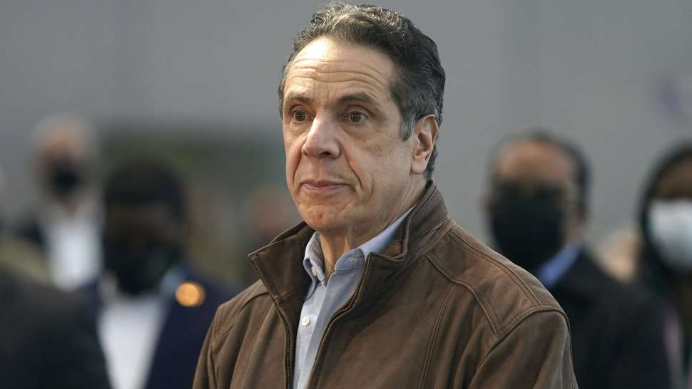 NEW YORK, NEW YORK - MARCH 08: New York Gov. Andrew Cuomo speaks at a vaccination site at the Jacob K. Javits Convention Center on March 8, 2021 in New York City. Cuomo has been called to resign from his position after allegations of sexual misconduct were brought against him.