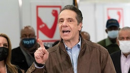 Governor Andrew Cuomo speaks during a visit to a new Covid-19 vaccination site, March 15, 2021, at the State University of New York in Old Westbury. The site is scheduled to open on Friday. (Photo by Mark Lennihan / POOL / AFP)