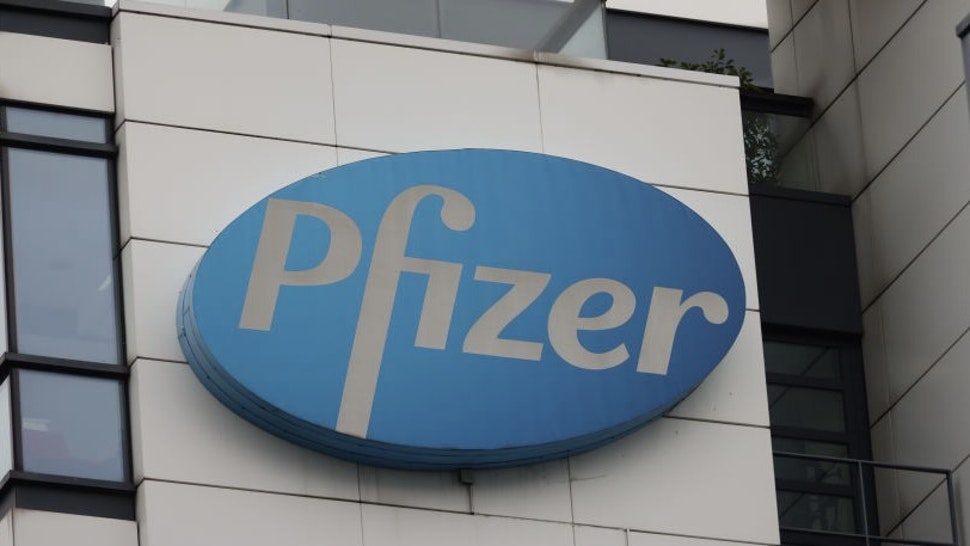 PARIS, FRANCE - NOVEMBER 18: A close-up of the Pfizer logo at the French Headquarters on November 18, 2020 in Paris, France. (Photo by Pierre Suu/Getty Images)