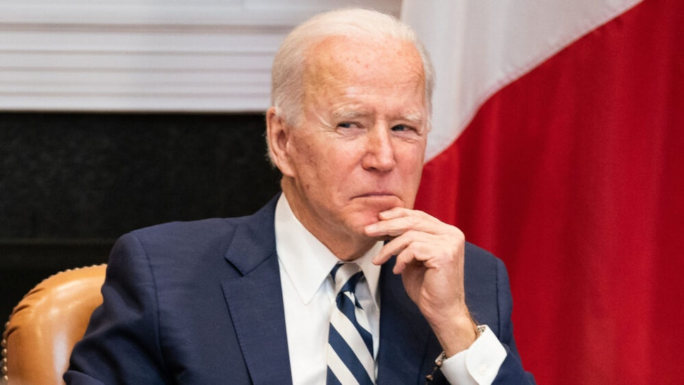 WASHINGTON, DC - MARCH 01: U.S. President Joe Biden attends a virtual meeting with Mexican President Andrés Manuel López Obrador in the Roosevelt Room of the White House on March 1, 2021 in Washington, DC.
