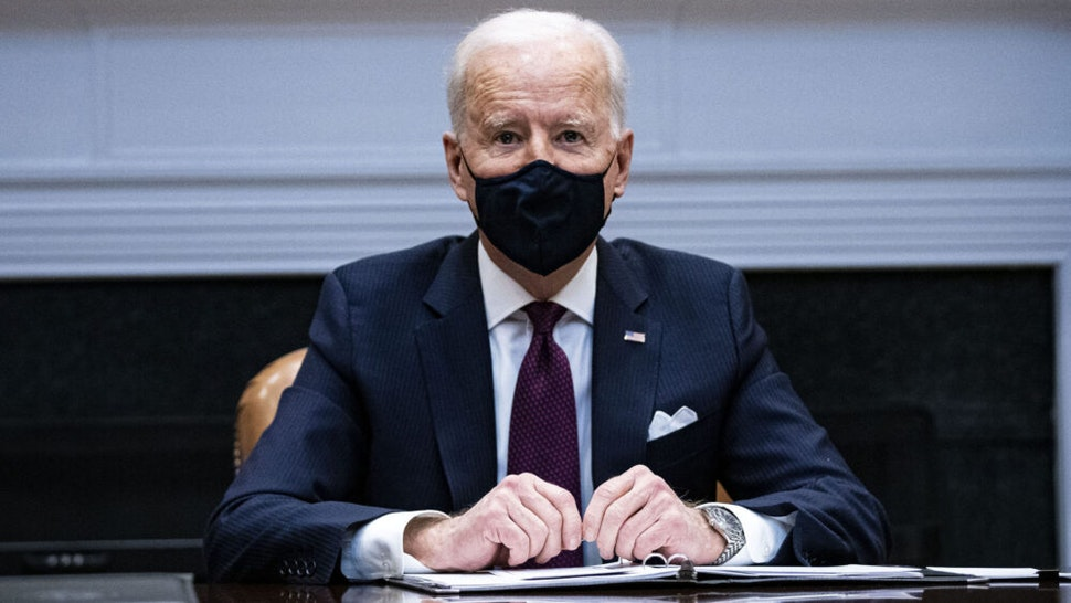 """WASHINGTON, DC - MARCH 05: President Joe Biden speaks during a meeting with Treasury Secretary Janet Yellen and Vice President Kamala Harris in the Roosevelt Room of the White House, March 5, 2021 in Washington, DC. Yellen has recently commented that bitcoin is an """"extremely inefficient"""" way to conduct monetary transactions."""