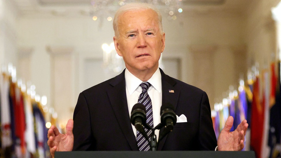 WASHINGTON, DC - MARCH 11: U.S. President Joe Biden speaks as he gives a primetime address to the nation from the East Room of the White House March 11, 2021 in Washington, DC. President Biden gave the address to mark the one-year anniversary of the shutdown due to the COVID-19 pandemic.