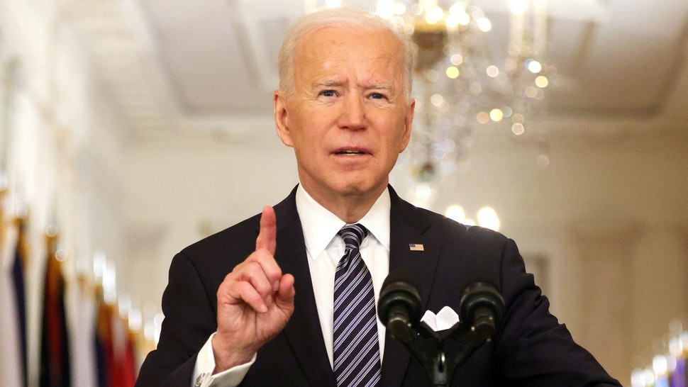 WASHINGTON, DC - MARCH 11: U.S. President Joe Biden delivers a primetime address to the nation from the East Room of the White House March 11, 2021 in Washington, DC. President Biden gave the address to mark the one-year anniversary of the shutdown due to the COVID-19 pandemic.