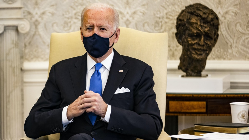 WASHINGTON, DC - MARCH 03: President Joe Biden holds a meeting on cancer with Vice President Kamala Harris and other lawmakers in the Oval Office at the White House on March 3, 2021 in Washington, DC.