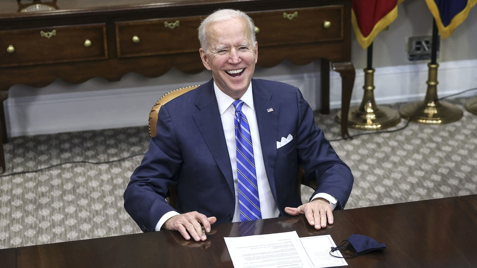 WASHINGTON, DC - MARCH 04: US President Joe Biden speaks during a virtual call to congratulate the NASA JPL Perseverance team on the successful Mars Landing in the Roosevelt Room of the White House on March 4, 2021 in Washington, DC.