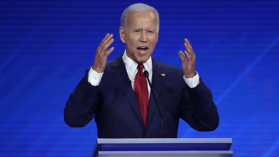 HOUSTON, TEXAS - SEPTEMBER 12: Democratic presidential candidate former Vice President Joe Biden speaks during the Democratic Presidential Debate at Texas Southern University's Health and PE Center on September 12, 2019 in Houston, Texas. Ten Democratic presidential hopefuls were chosen from the larger field of candidates to participate in the debate hosted by ABC News in partnership with Univision.