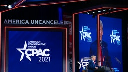 Former U.S. President Donald Trump speaks during the Conservative Political Action Conference (CPAC) in Orlando, Florida, U.S., on Sunday, Feb. 28, 2021. Trump rejected the idea of starting a third political party and instead teased the idea of a 2024 run in a speech Sunday at a conservative conference.