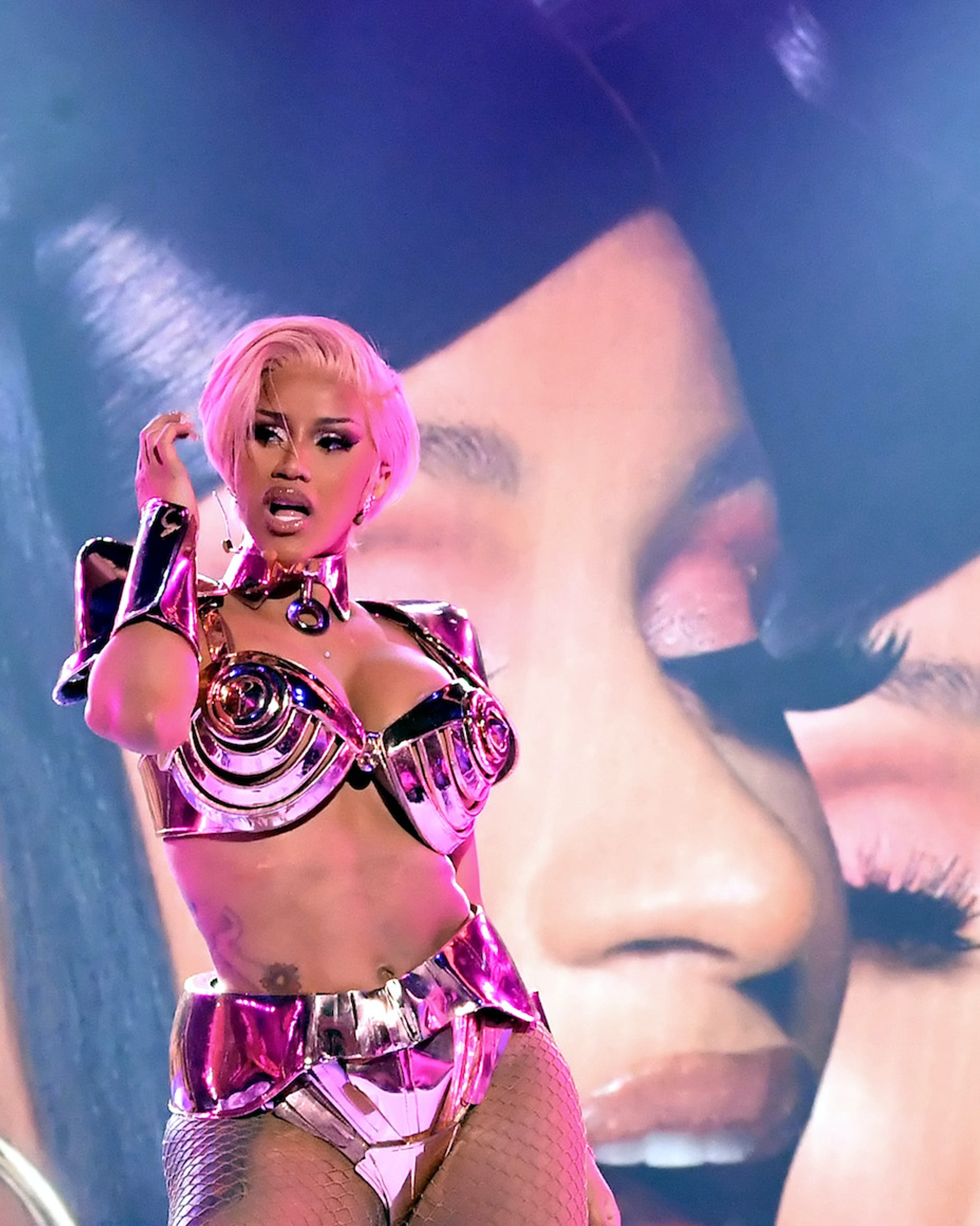 In this image released on March 14, Cardi B performs onstage during the 63rd Annual GRAMMY Awards at Los Angeles Convention Center in Los Angeles, California and broadcast on March 14, 2021. (Photo by Kevin Winter/Getty Images for The Recording Academy)