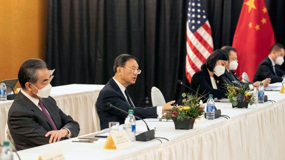 ANCHORAGE, the United States, March 18, 2021 -- Yang Jiechi, a member of the Political Bureau of the Communist Party of China CPC Central Committee and director of the Office of the Foreign Affairs Commission of the CPC Central Committee, puts forward China's stands on relevant issues at the start of the high-level strategic dialogue with the United States in the Alaskan city of Anchorage on March 18, 2021. Yang Jiechi, Chinese State Councilor and Foreign Minister Wang Yi, U.S. Secretary of State Antony Blinken and U.S. National Security Advisor Jake Sullivan attended the dialogue.