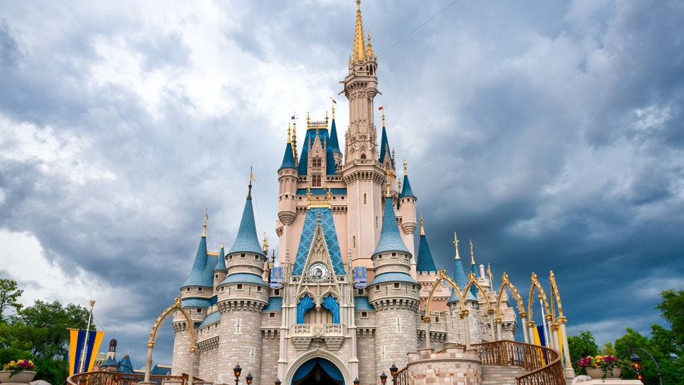 ORLANDO, FLORIDA, UNITED STATES - 2019/07/17: Cinderella Castle in Walt Disney World.
