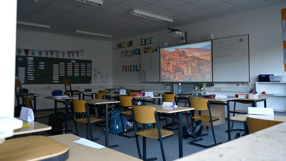 17 March 2021, Lower Saxony, Wilhelmshaven: The classroom in the Marion-Dönhoff-School is empty after a fire broke out in the school Marion-Dönhoff-School. The fire destroyed large parts of the school. Photo: David Hecker/dpa