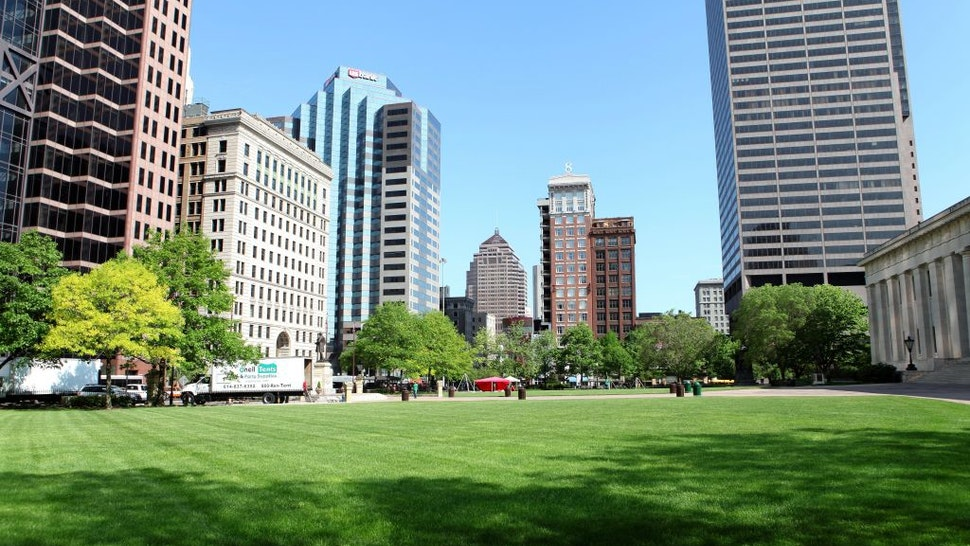 COLUMBUS, OH - MAY 16: Partial view of downtown Columbus, as photographed from Capitol Square on May 16, 2014 in Columbus, Ohio.