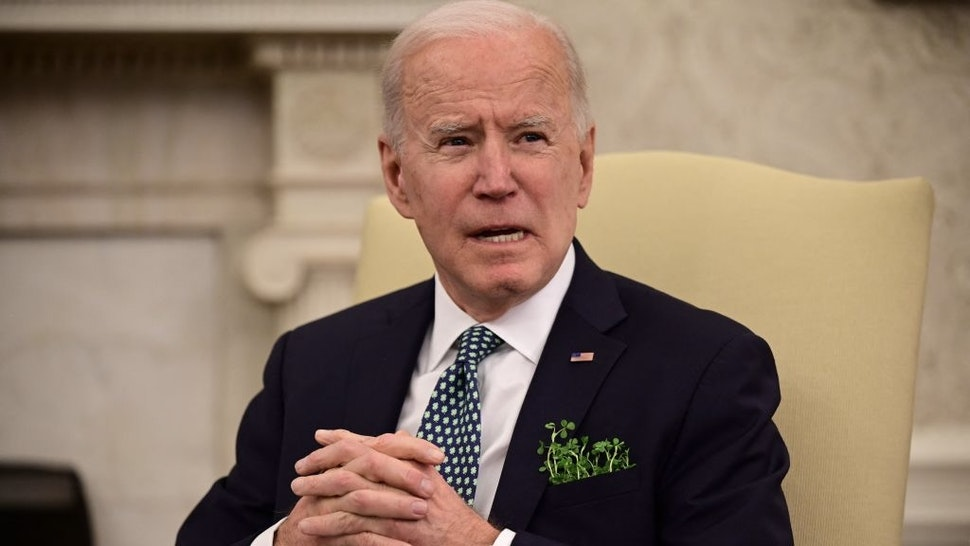US President Joe Biden speaks on the shooting incident in Atlanta before taking part in a virtual bilateral meeting with Irish Prime Minister Micheál Martin in the Oval Office at the White House on March 17, 2021 in Washington,DC. (Photo by JIM WATSON / AFP) (Photo by JIM WATSON/AFP via Getty Images)