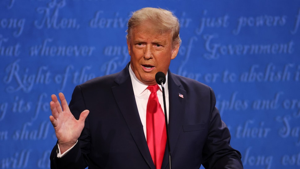 NASHVILLE, TENNESSEE - OCTOBER 22: U.S. President Donald Trump participates in the final presidential debate against Democratic presidential nominee Joe Biden at Belmont University on October 22, 2020 in Nashville, Tennessee. This is the last debate between the two candidates before the election on November 3.