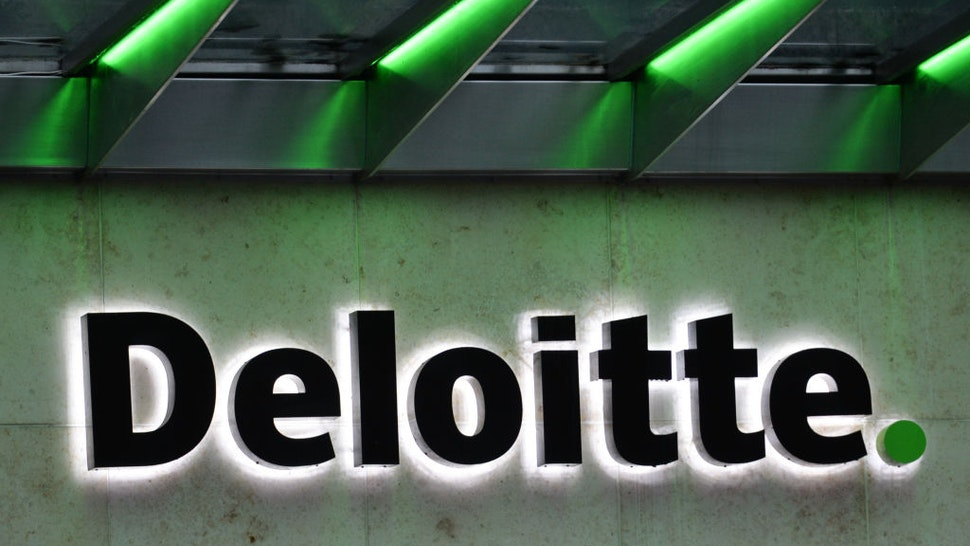 A view of the Deloitte logo seen in Dublin city centre during Level 5 Covid-19 lockdown. The Department of Health reported this evening 2,001 of new Covid-19 cases for the Republic of Ireland and 93 deaths, a new record for a confirmed number of daily deaths. On Tuesday, 19 January, 2021, in Dublin, Ireland.
