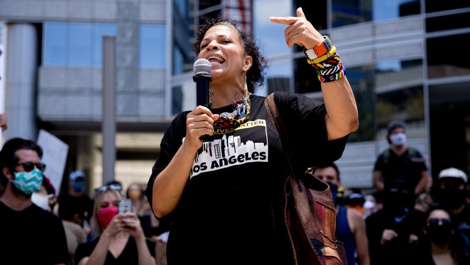 BEVERLY HILLS, CALIFORNIA - JUNE 06: Melina Abdullah participates in the Hollywood talent agencies march to support Black Lives Matter protests on June 06, 2020 in Beverly Hills, California.