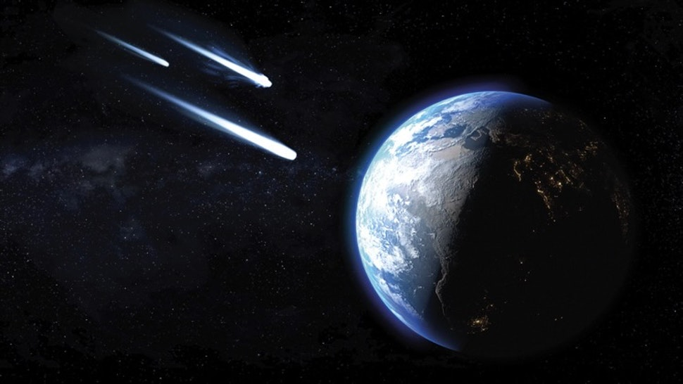 Comets passing by earth, illustration - stock illustration Three icy comets passing by planet Earth, illustration.