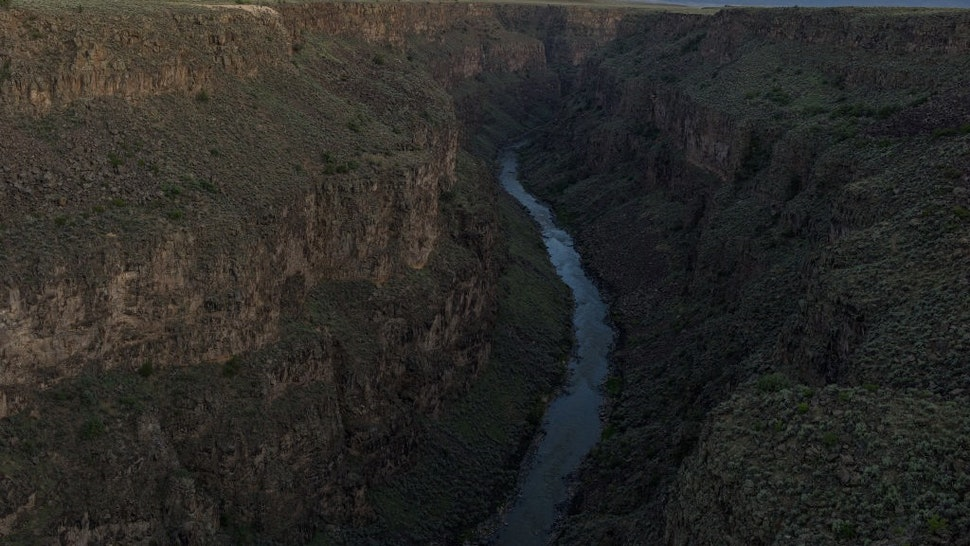 TAOS, N.M. - AUGUST 18: The Rio Grande river flows through a narrow gorge on August 18, 2018, ten miles west of the town of Taos, New Mexico. (Photo by Andrew Lichtenstein/Corbis via Getty Images)