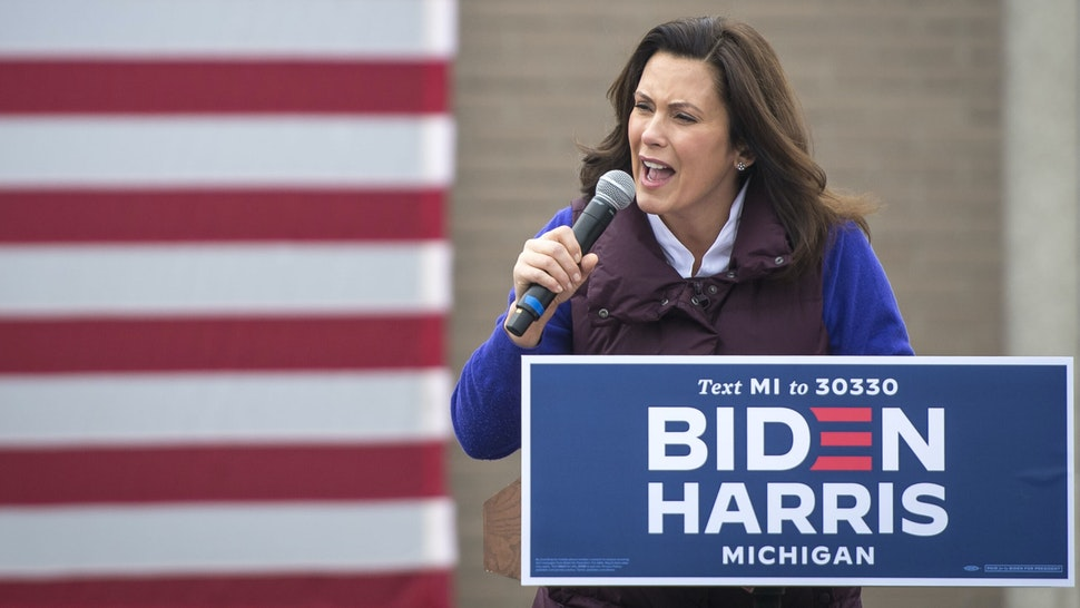 DETROIT, MI - OCTOBER 25: Michigan Governor Gretchen Whitmer speaks before Democratic U.S. Vice Presidential nominee Sen. Kamala Harris (D-CA) appears at IBEW Local Union 58 on October 25, 2020 in Detroit, Michigan. Harris is traveling to multiple locations in the metro Detroit area to campaign for Democratic presidential nominee Joe Biden.