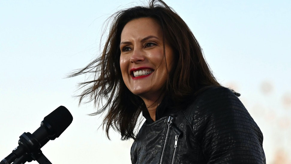 Michigan Governor Gretchen Whitmer speaks during a mobilization event at Belle Isle Casino in Detroit, Michigan, with former US President Barack Obama and Democratic Presidential candidate and former US Vice President Joe Biden, on October 31, 2020.