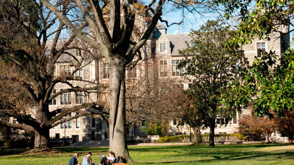Students studying on the campus of Georgetown University, Washington, D.C.