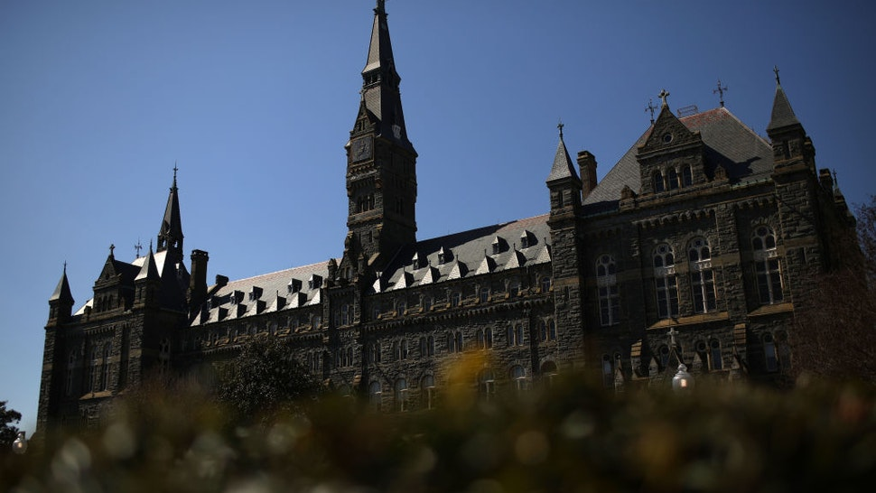 WASHINGTON, - MARCH 12: The campus of Georgetown University is shown March 12, 2019 in Washington, DC. Georgetown University and several other schools including Yale, Stanford, the University of Texas, University of Southern California and UCLA were named today in an FBI investigation targeting 50 people as part of a bribery scheme to accept students with lower test scores into some of the leading universities across the United States.