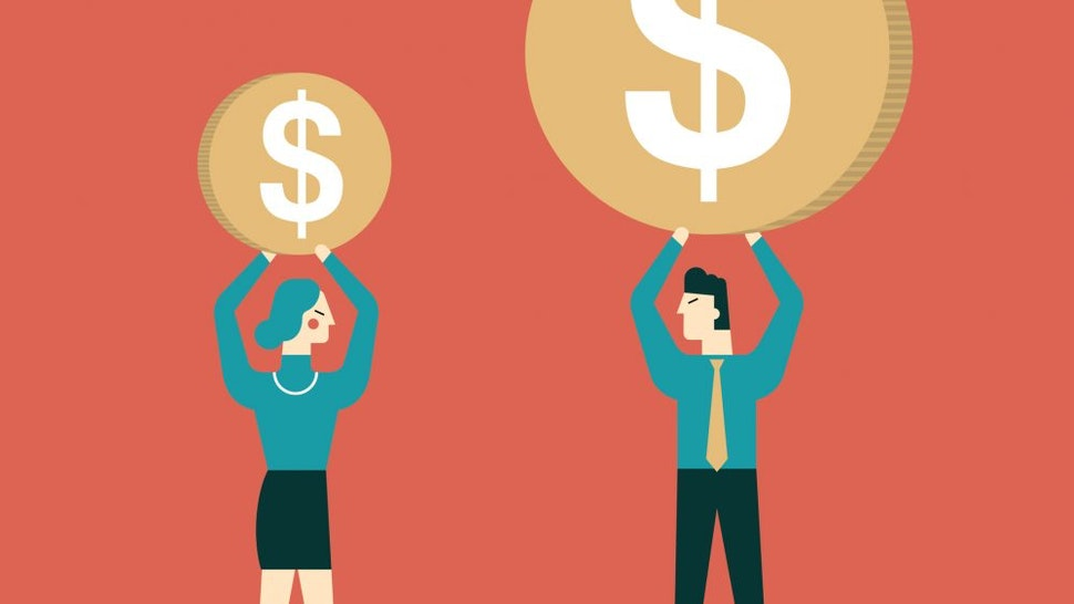 Gender Differences in salary - stock vector