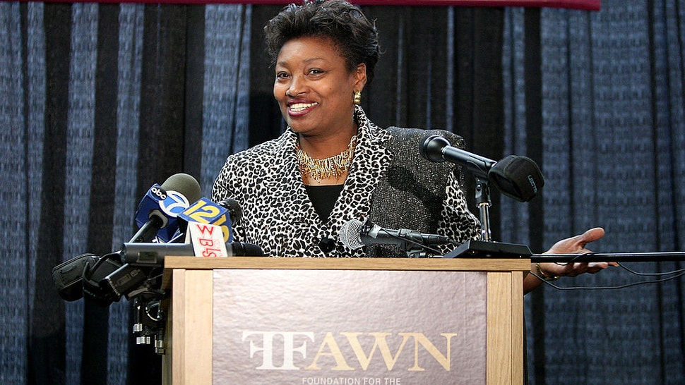New York State Senator Andrea Stewart-Cousins address the press to announce Mary J. Blige's and Steve Stoute's new charity initiative, FFAWN, at Roosevalt High Scool in Yonkers, New York on May 9, 2008.