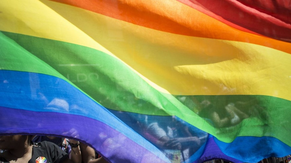 NEW YORK, NY - June 30: LGBT flag during the Gay Pride Parade on June 30, 2019 in New York City.