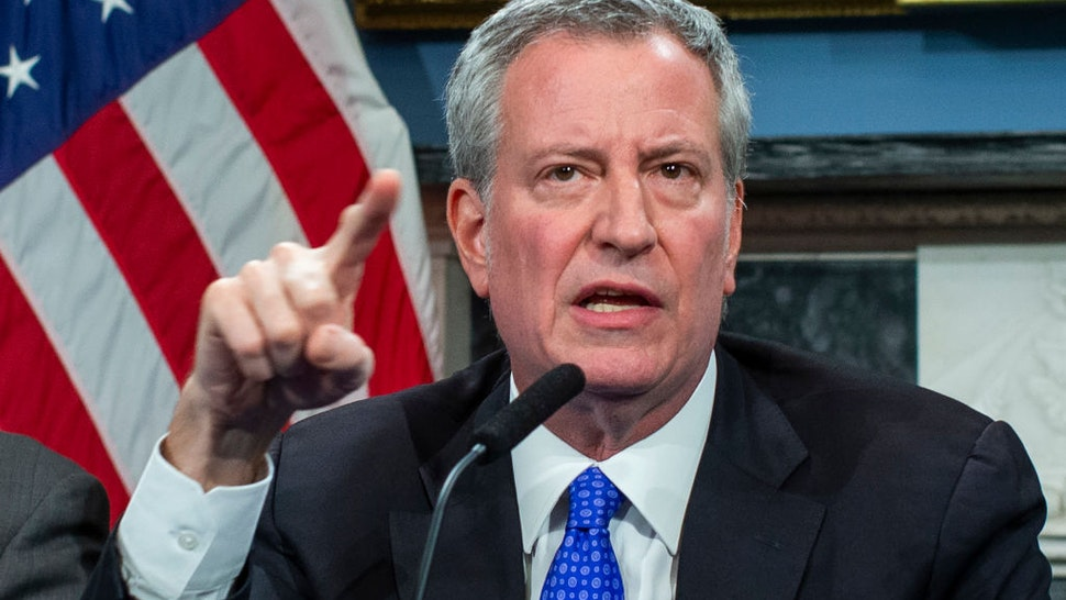 NEW YORK, NY - JANUARY 03: New York Mayor Bill de Blasio speaks to the media during a press conference at City Hall on January 3, 2020 in New York City. The NYPD will take actions to protect the city and residents against any possible retaliation after the deadly US airstrike in Iraq, Mayor Bill de Blasio said during a press conference.