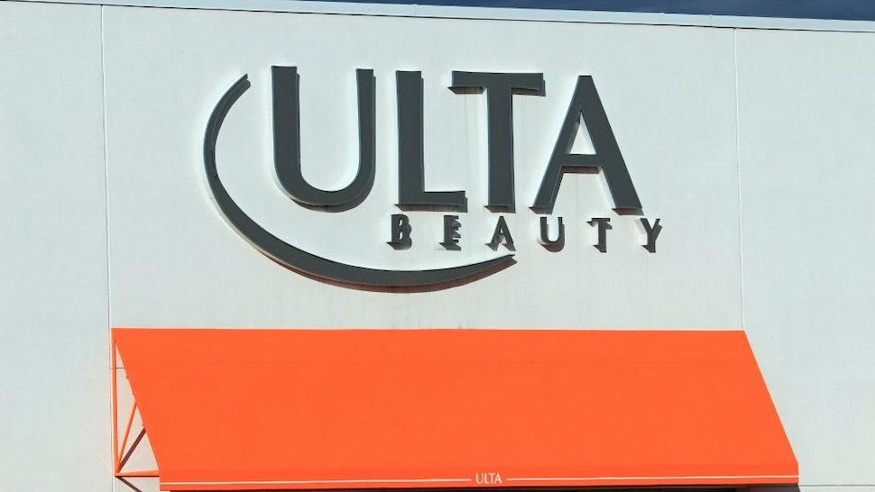 Ulta Beauty store entrance sign at a mall, northern Idaho.