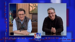 NEW YORK - FEBRUARY 9: A Late Show with Stephen Colbert and guest John Oliver during Tuesday's February 9, 2021 Show. Image is a screen grab. (Photo by CBS via Getty Images)