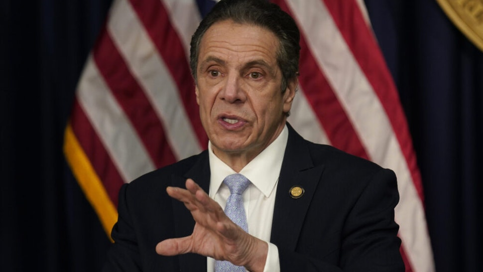 NEW YORK, NEW YORK - MARCH 18: New York Governor Andrew Cuomo speaks during an event at his office on March 18, 2021 in New York City. Cuomo spoke about the return of spectators to performing arts and sporting events, including a limited amount of fans attending baseball games at the start of the season.