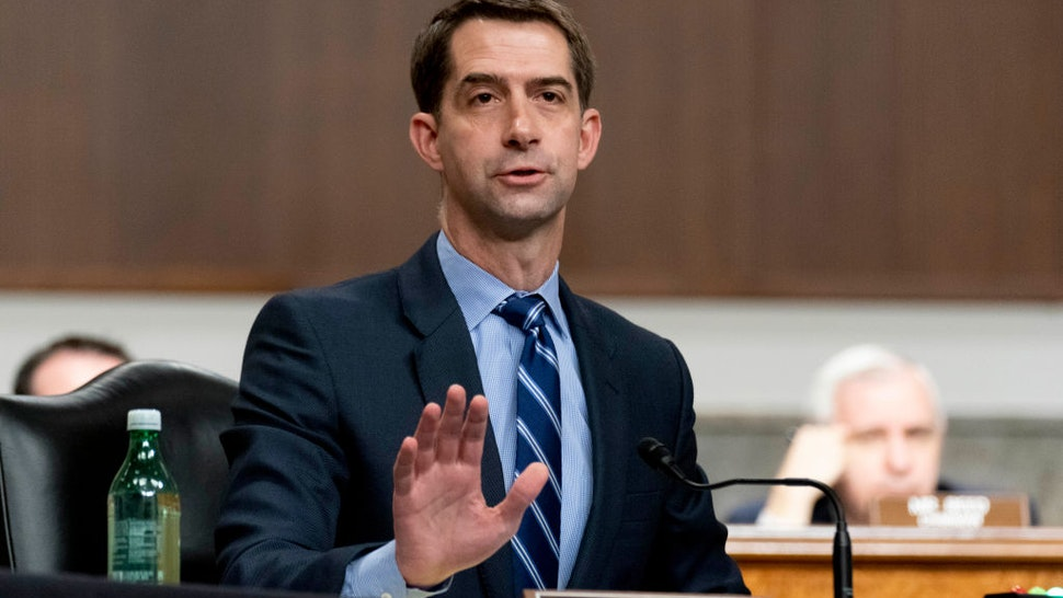 Sen. Tom Cotton (R-AR) speaks during a hearing to examine United States Special Operations Command and United States Cyber Command in review of the Defense Authorization Request for fiscal year 2022 and the Future Years Defense Program, on Capitol Hill on March 25, 2021 in Washington, DC.