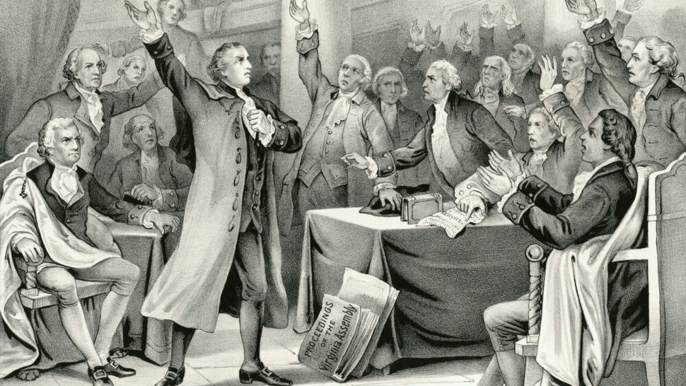 "Vintage illustration features Patrick Henry delivering his speech on the rights of the colonies, before the Virginia Assembly, convened at Richmond, March 23rd 1775, concluding with ""Give Me Liberty or Give Me Death"" which became the war cry of the American Revolution."