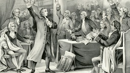 """Vintage illustration features Patrick Henry delivering his speech on the rights of the colonies, before the Virginia Assembly, convened at Richmond, March 23rd 1775, concluding with """"Give Me Liberty or Give Me Death"""" which became the war cry of the American Revolution."""