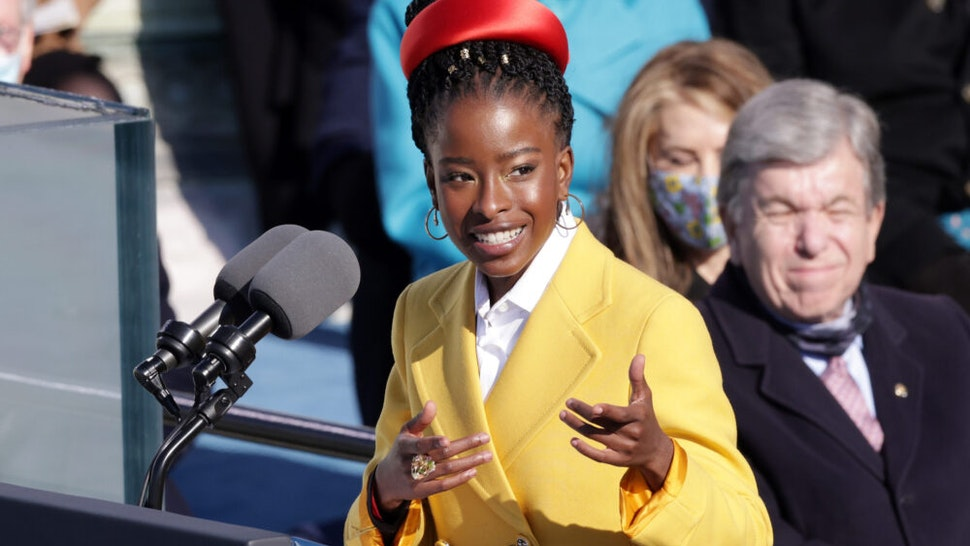 WASHINGTON, DC - JANUARY 20: Youth Poet Laureate Amanda Gorman speaks during the inauguration of U.S. President Joe Biden on the West Front of the U.S. Capitol on January 20, 2021 in Washington, DC. During today's inauguration ceremony Joe Biden becomes the 46th president of the United States.