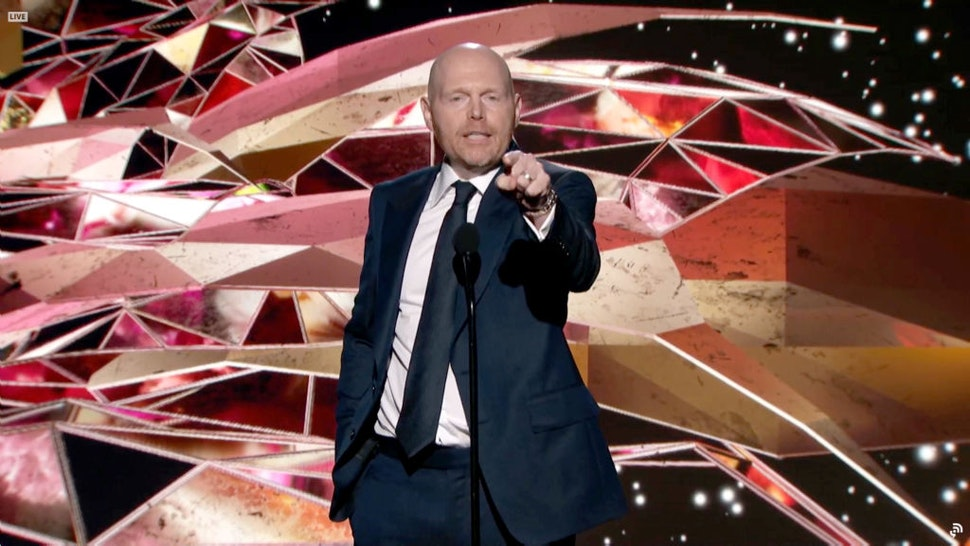 In this screengrab released on March 14, Bill Burr speaks onstage for the 63rd Annual GRAMMY Awards Premiere Ceremony broadcast on March 14, 2021.