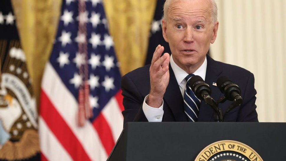WASHINGTON, DC - MARCH 25: U.S. President Joe Biden answers questions during the first news conference of his presidency in the East Room of the White House on March 25, 2021 in Washington, DC. On the 64th day of his administration, Biden, 78, faced questions about the coronavirus pandemic, immigration, gun control and other subjects. (Photo by Chip Somodevilla/Getty Images)