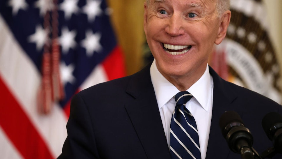 U.S. President Joe Biden talks to reporters during the first news conference of his presidency in the East Room of the White House on March 25, 2021 in Washington, DC.