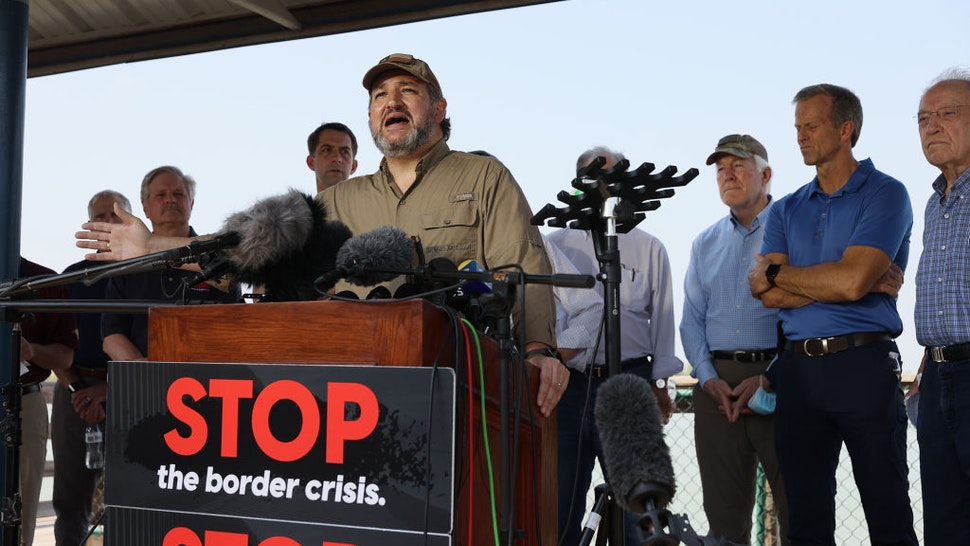Sen. Ted Cruz (R-TX) speaks to the media after a tour of part of the Rio Grande river on a Texas Department of Public Safety boat on March 26, 2021 in Mission, Texas.