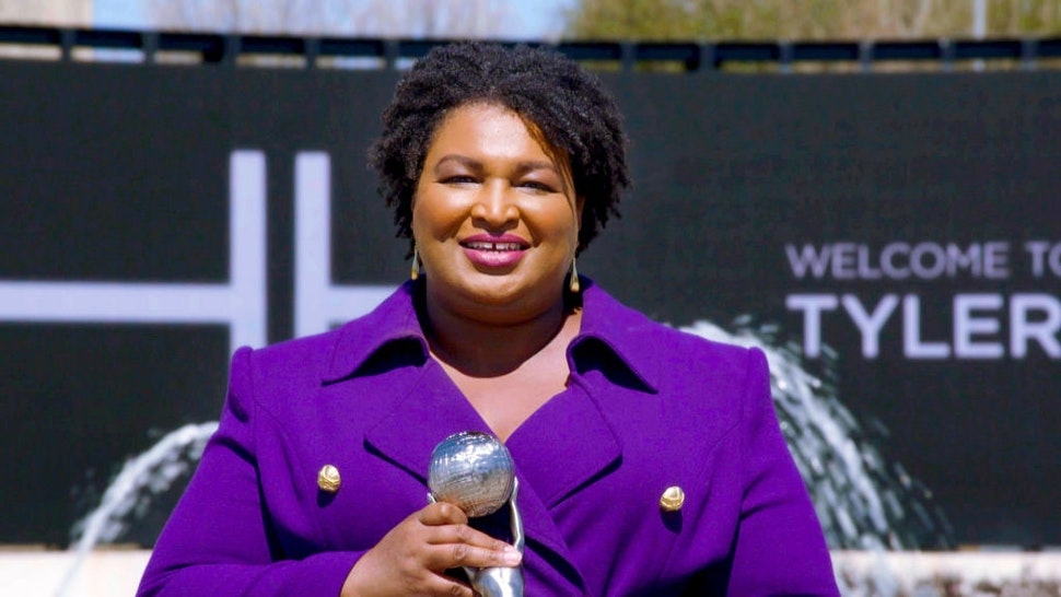 UNSPECIFIED - MARCH 27: In this screengrab, Stacey Abrams accepts the Social Justice Impact Award during the 52nd NAACP Image Awards on March 27, 2021. (Photo by NAACP via Getty Images)