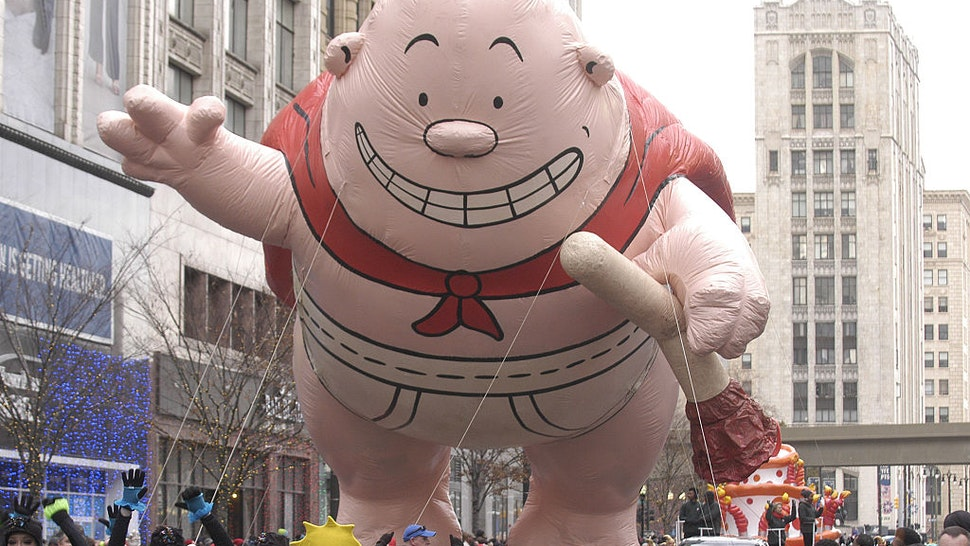 aptain Underpants floats down Woodward Avenue during America's Thanksgiving Day Parade on Thursday, November 26, 2015 in Detroit, Michigan.